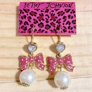 Betsey Johnson Pearl & Bow Dangle Earrings